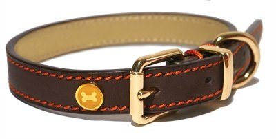 Luxury leather halsband hond leer luxe bruin