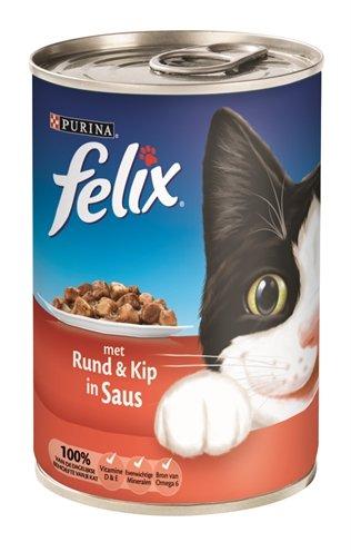 Felix blik brokjes rund / kip in saus