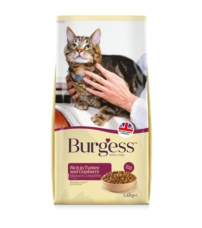Burgess cat senior rijk aan kalkoen en cranberry