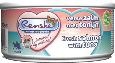 Renske vers vlees maaltijd kat verse tonijn met zalm vezels