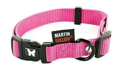 Martin sellier halsband nylon roze verstelbaar