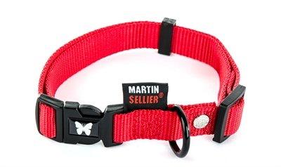 Martin sellier halsband nylon rood verstelbaar