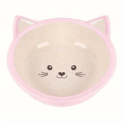 Happy pet voerbak kitten roze / creme