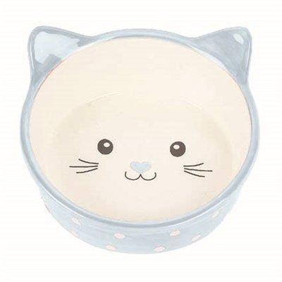 Happy pet voerbak kat polka blauw / creme