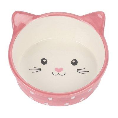 Happy pet voerbak kat polka roze / creme