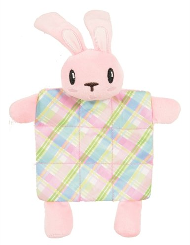 Zolux puppyspeelgoed konijn plush plaid crinklestof roze