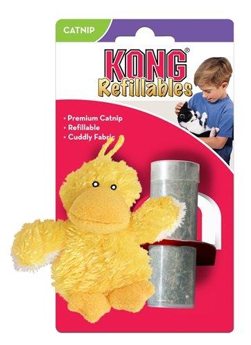 Kong kat pluche eend geel catnip