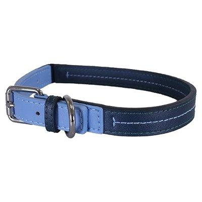 Rosewood halsband hond leer babyblauw / donkerblauw