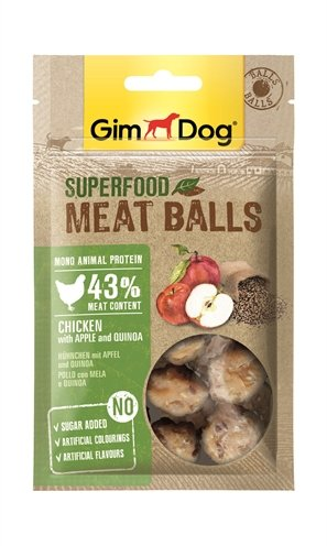 Gimdog superfood meat balls kip / appel / quinoa