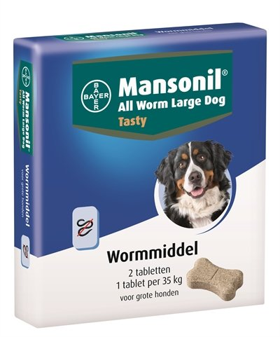 Mansonil grote hond all worm tasty tabletten
