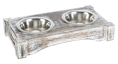 Trixie voerbak / drinkbak set rvs hout wit
