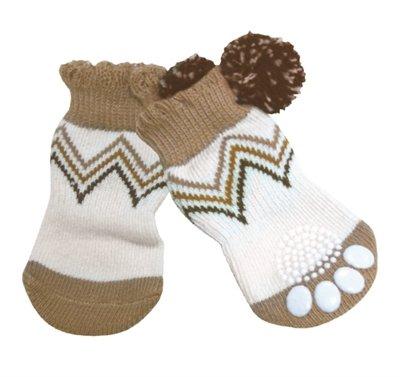 Croci sokken hond pompon bruin / wit