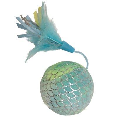 Happy pet mermaid bal groot met veren blauw