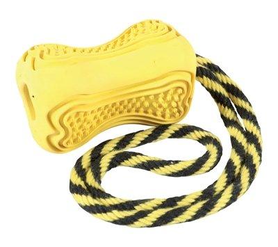 Zolux titan rubber speelgoed aan touw geel