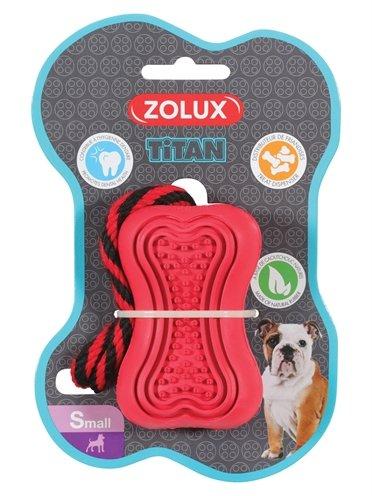 Zolux titan rubber speelgoed aan touw rood