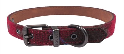 Joules halsband hond heritage tweed leer rood