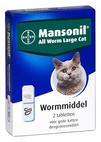 Mansonil grote kat all worm tabletten
