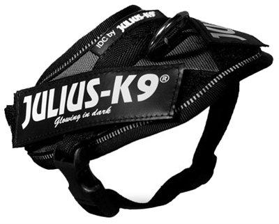 Julius k9 idc power-harnas/tuig voor labels zwart