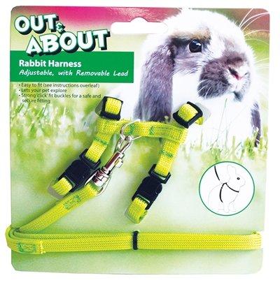 Happy pet konijnen harnas en looplijn groen